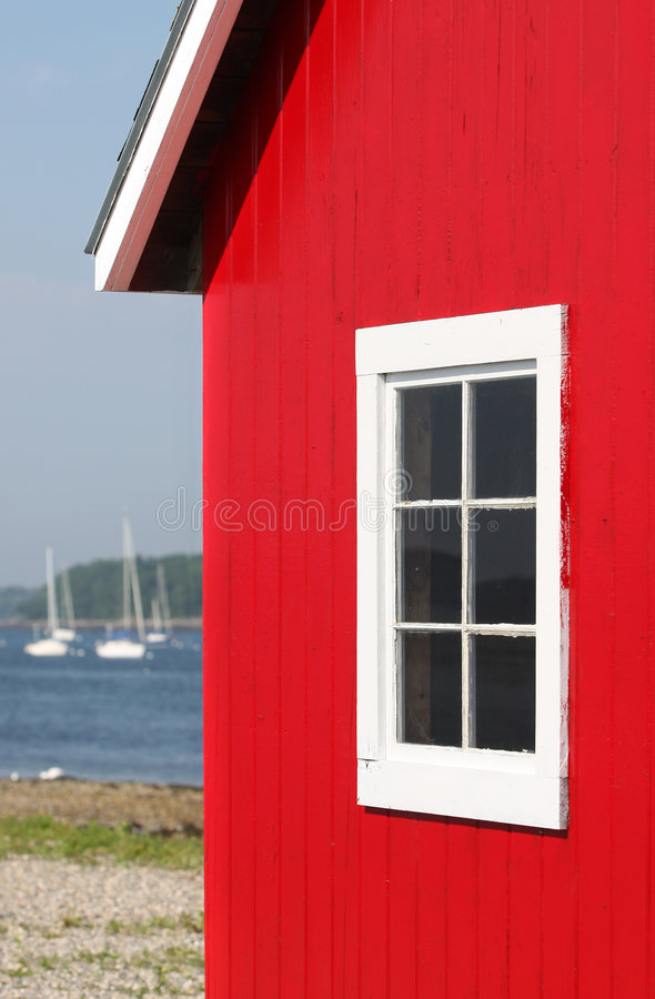 Red Boat House On Maine Bay Stock Image