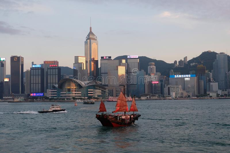 A red boat at Victoria Harbour, Wan Chai, Hong Kong royalty free stock photography