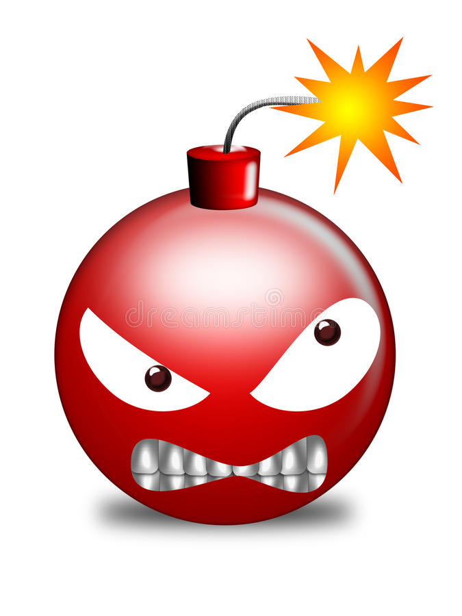 Red bomb. Round red bomb with lit fuse on white background vector illustration