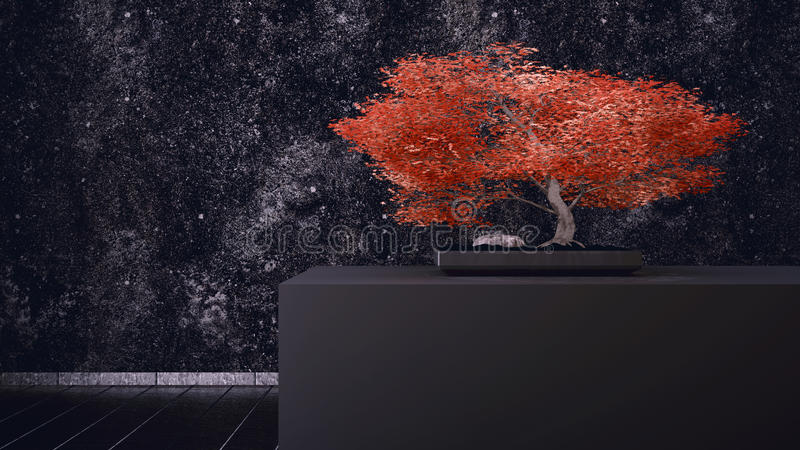 Download Red Bonsai stock illustration. Image of leaves, floor - 39247665