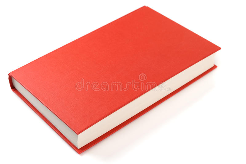 Red book isolated on white background. Bright red book isolated on white background with smooth shadow and reflection royalty free stock image