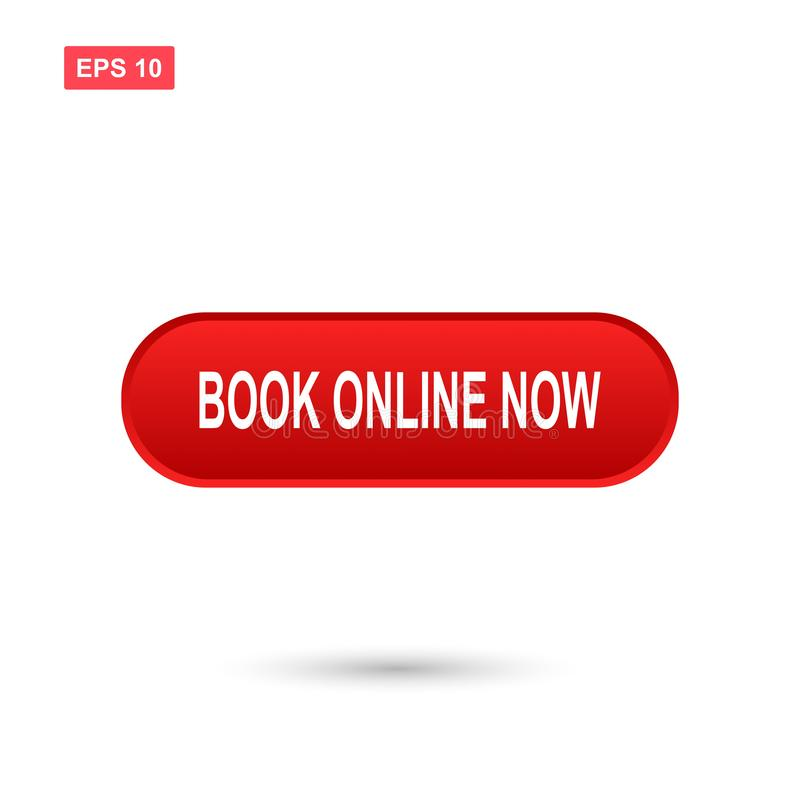 Red book online now button vector isolated vector illustration