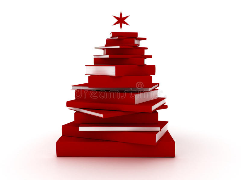 Red books christmas tree stock illustration