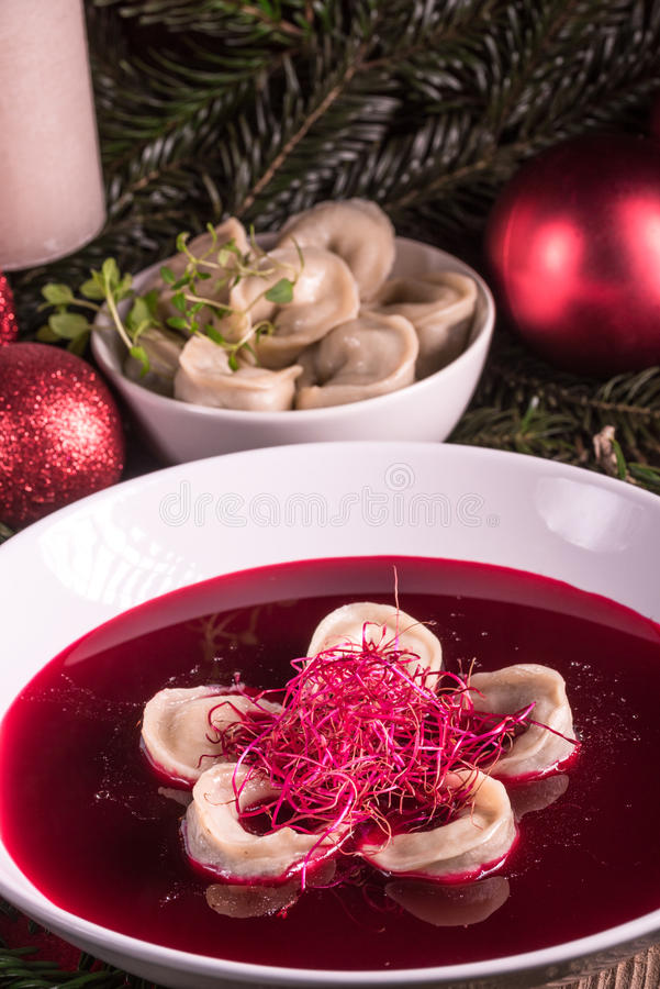 Red borscht soup. A tasty and fresh red borscht soup stock images