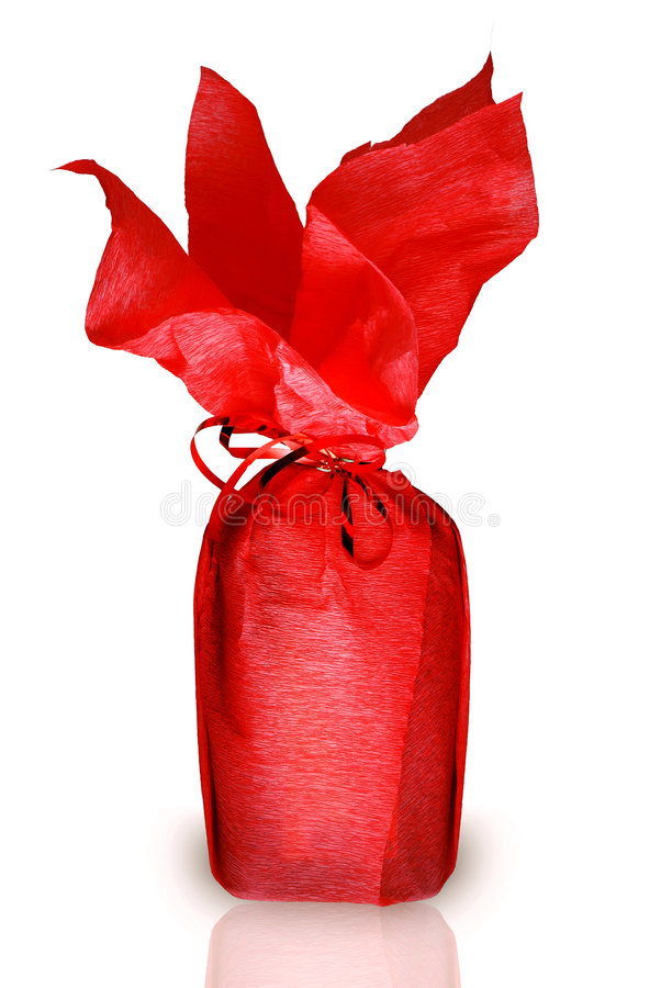 Red bottle. Gift on white background stock photos