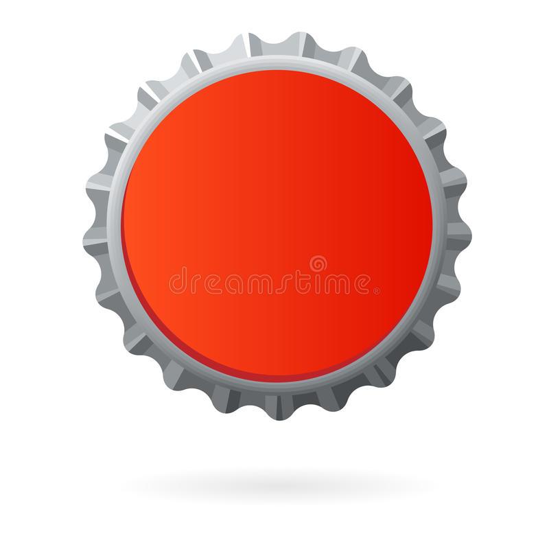 Red bottle cap blank isolated. Truth to live illustration of bottle cap with text space for branding stock illustration
