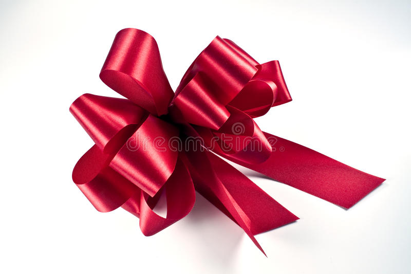 Red bow. Isolated on white background stock photos
