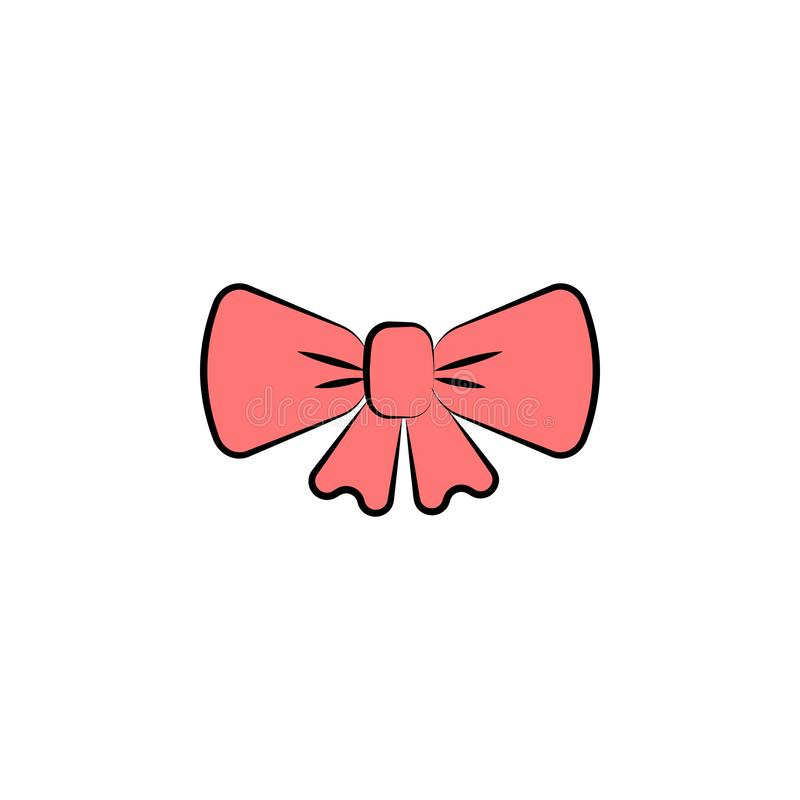 red bow colored icon. Element of birthday icon for mobile concept and web apps. Color red bow icon can be used for web and mobile stock illustration
