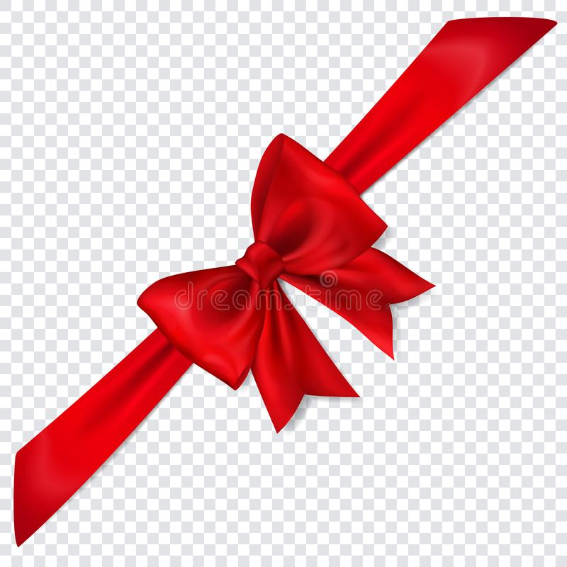 Red bow with diagonally ribbon. Beautiful red bow with diagonally ribbon with shadow on transparent background vector illustration