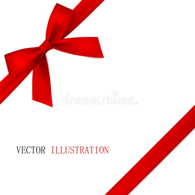 Red bow with diagonally ribbon on the corner. Vector. royalty free stock image