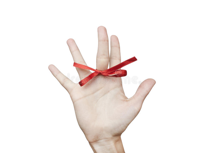 Download Red bow on finger stock image. Image of confusion, ribbon - 21236253