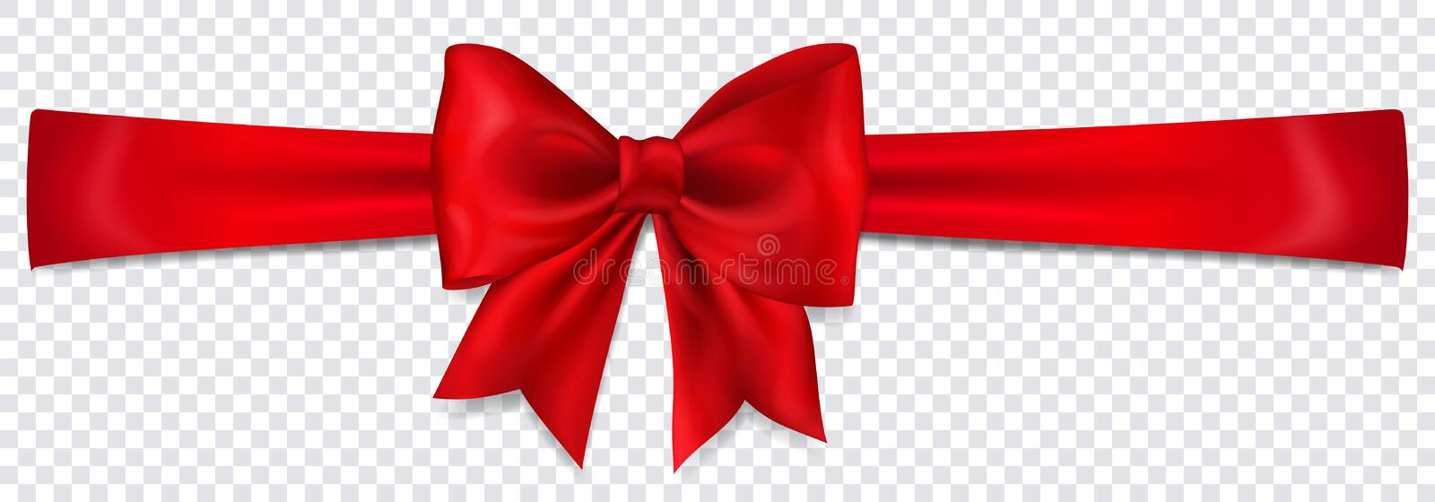 Red bow with horizontal ribbon. Beautiful red bow with horizontal ribbon with shadow on transparent background vector illustration