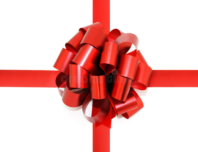 Red bow isolated on white royalty free stock photography