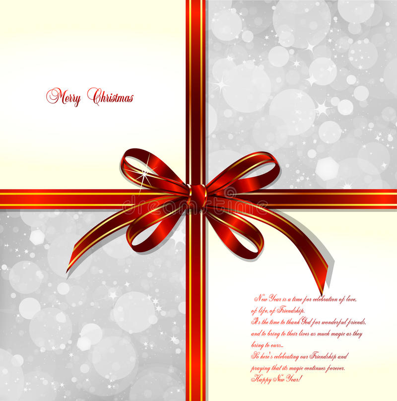 Download Red Bow On A Magical Christmas Background. Vector Stock Vector - Image: 28690951