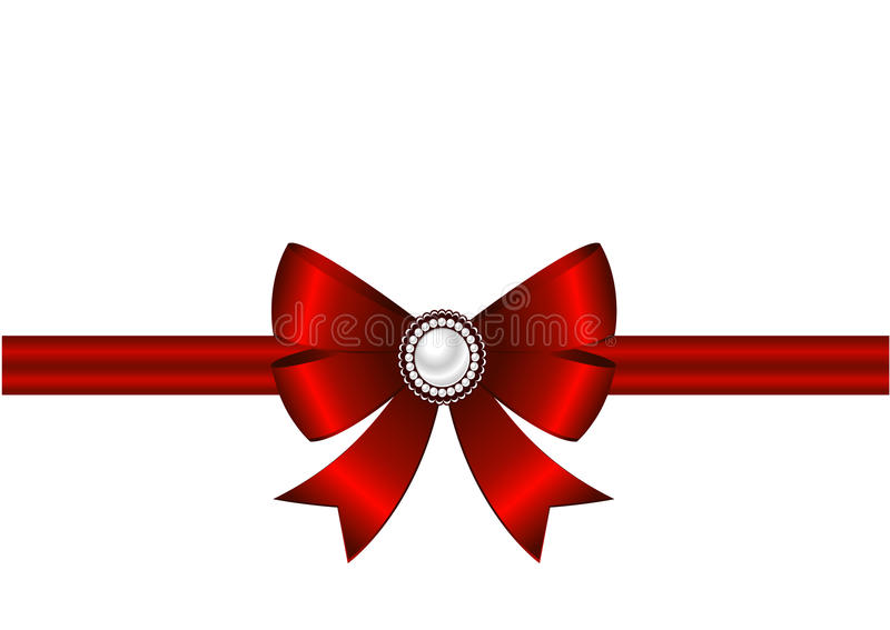 Red bow with ornament. Red bow with ribbon and brooch on a white background. Brooch with pearls. Invitation, greeting card or card template stock illustration