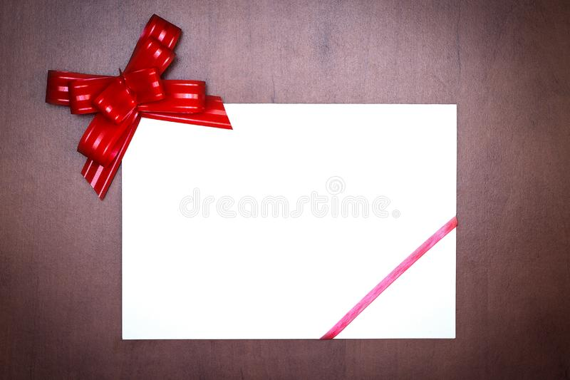 Red bow with paper card royalty free stock images