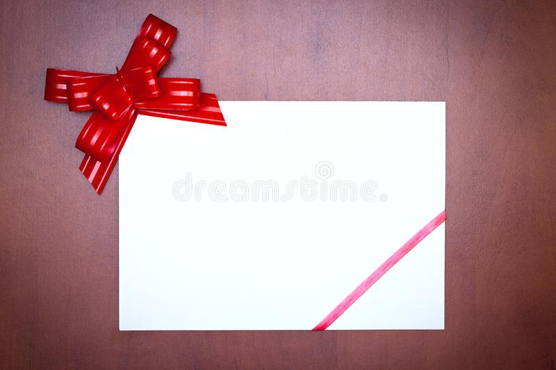 Red bow with paper card stock photography