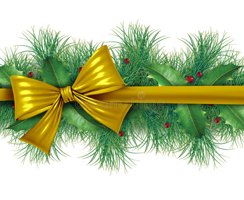 Download Red bow with pine border stock illustration. Illustration of background - 22400458