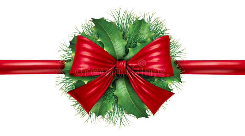Download Red Bow With Pine Border And Circular Decoration Stock Illustration - Image: 21588386