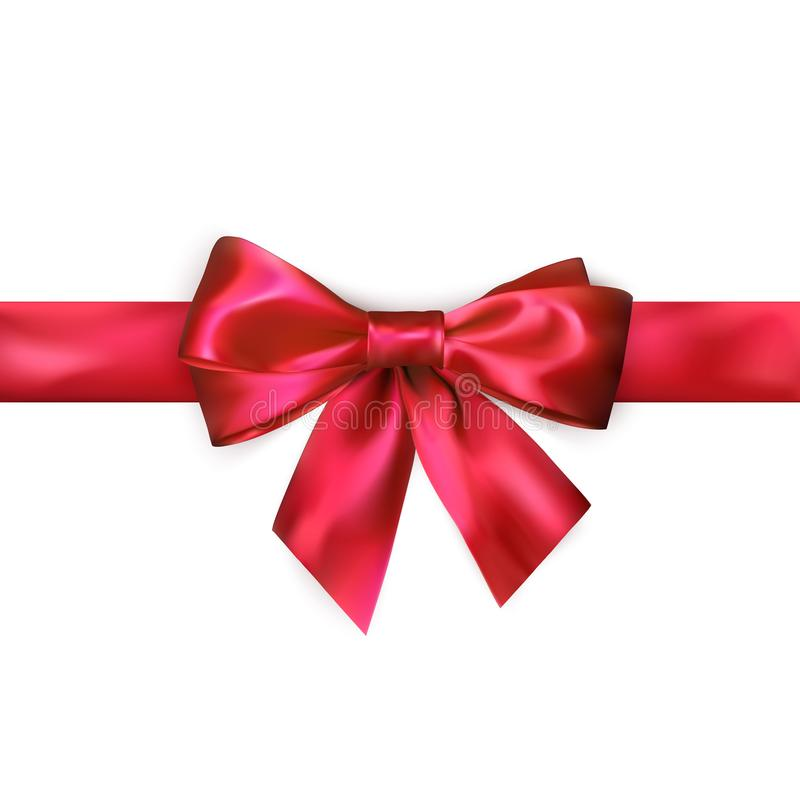 Red bow with red ribbon isolated on white background. Realistic silk bow. Decoration for gifts and packing red bow. Vector. Illustration vector illustration