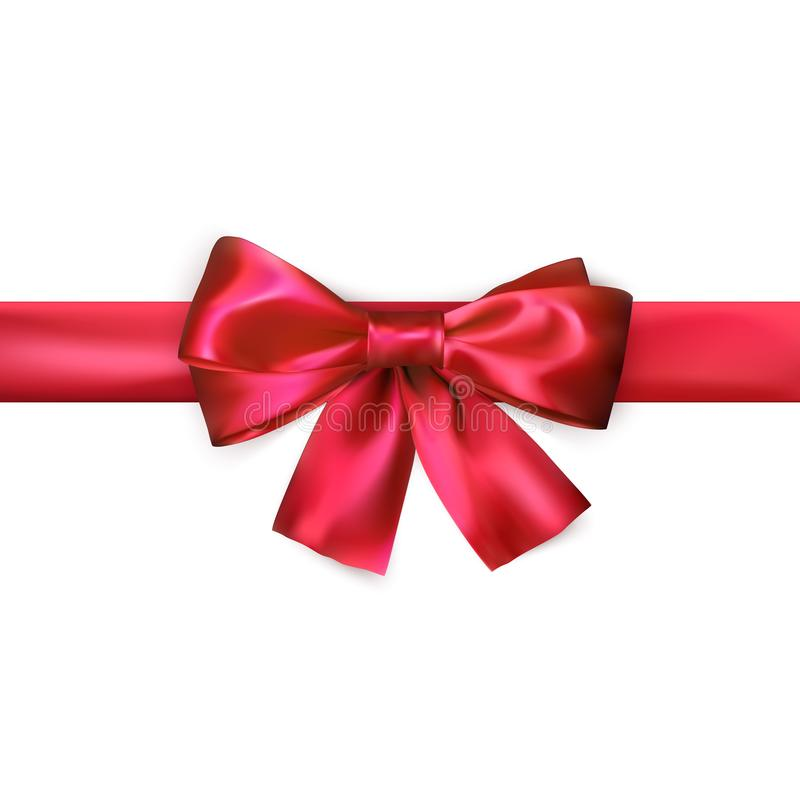 Red bow with ribbon isolated on white background. Realistic silk bow. Decoration for gifts and packing red bow. Vector. Illustration stock illustration