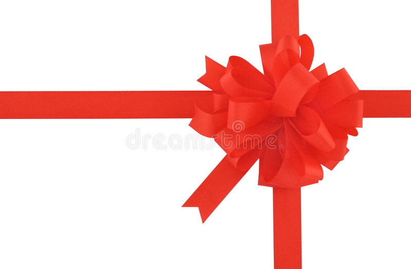 Red bow and ribbon on pure white background royalty free stock image