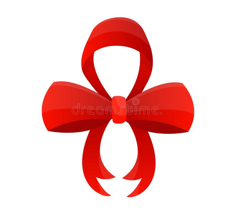 Red bow. Vector illustration on white background. Can be use for decoration gifts, greetings, holidays, etc. Red bow. Vector illustration on white background royalty free illustration