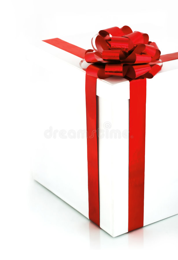 Red Bow on White Box stock photography