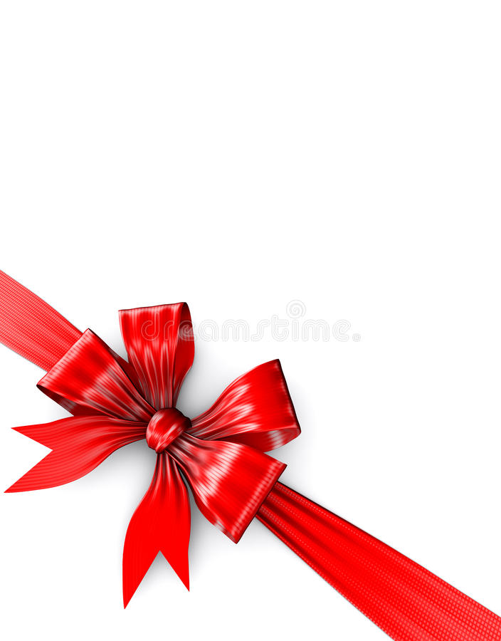 Red bow on white gift stock image