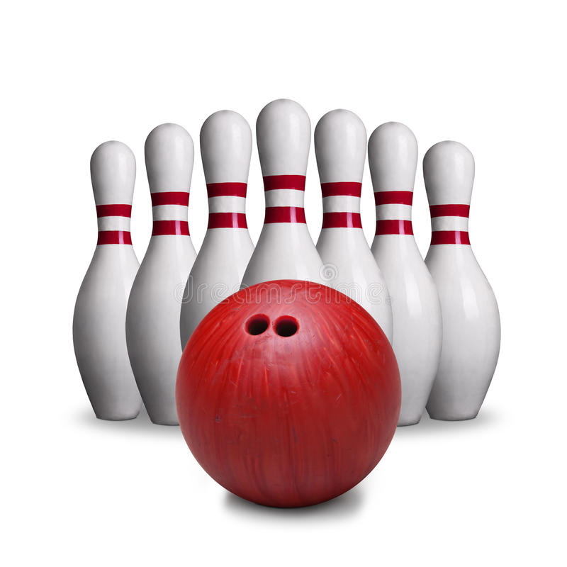 Red Bowling Ball And Pins Isolated on White Background stock image
