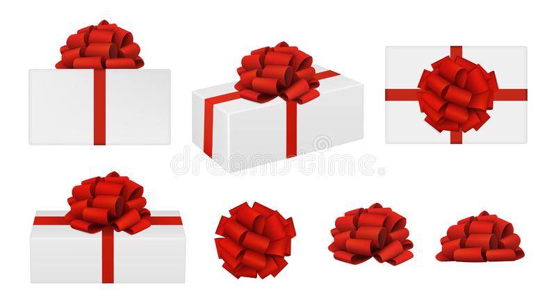 Red bows and gift boxes stock photography