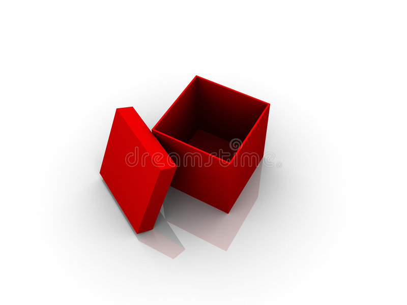 Red Box. One 3d Red Box on the white background royalty free illustration