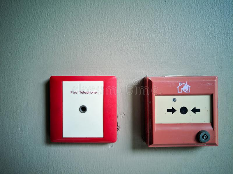 Red box Fire Fighters Telephone point. Red box Fire Fighters Telephone point stock images