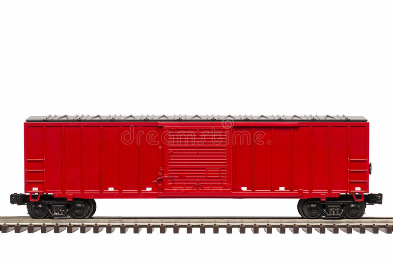 Red Boxcar. A red boxcar on track with the door closed stock photos