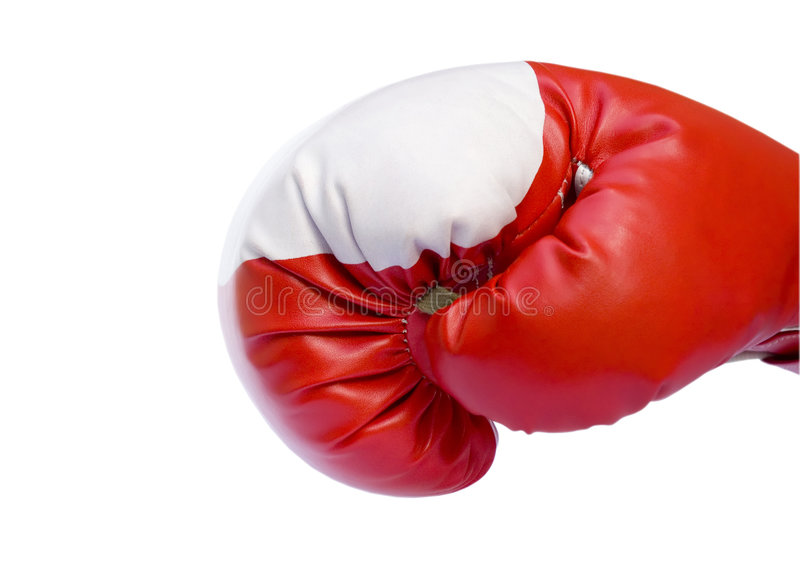 Red boxing glove. Ready to punch isolated over white royalty free stock images
