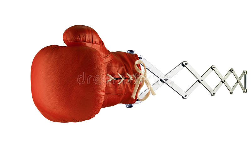 Red boxing glove on spring stock image
