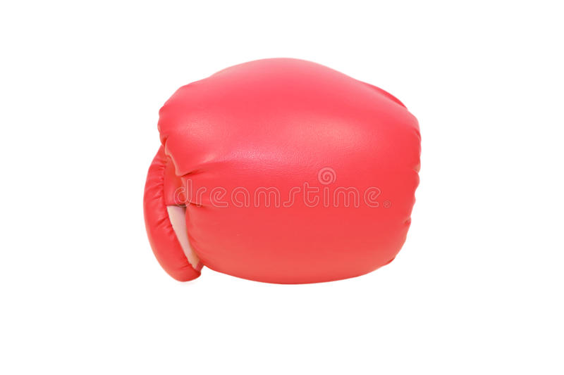 Red boxing glove in white background stock photography