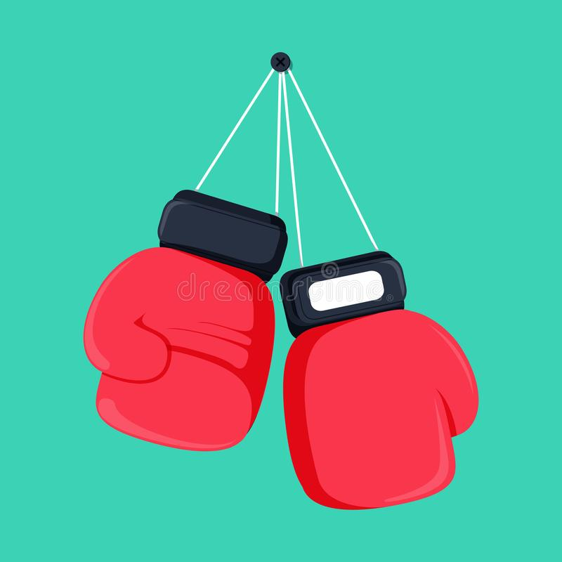 Red boxing gloves hanging on nail of wall, flat design icon royalty free illustration
