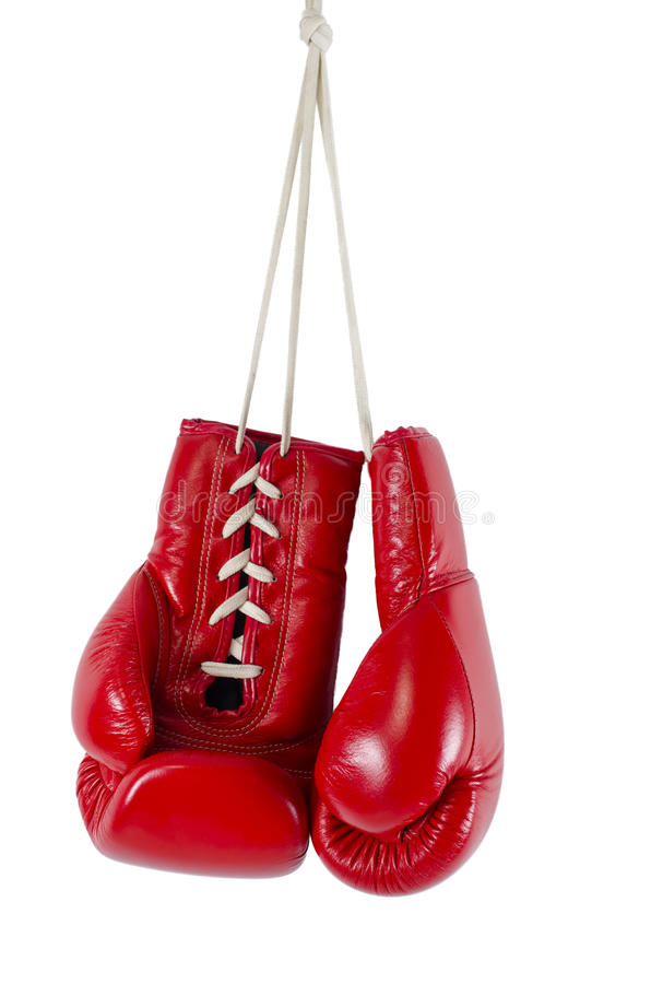 Red boxing gloves on white background stock images