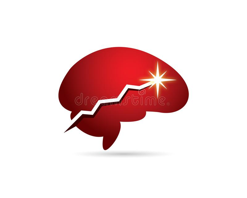 Red brain with ascending increasing chart to maximum point star sparkling. Red brain with ascending increasing chart to maximum point star and sparkling royalty free illustration