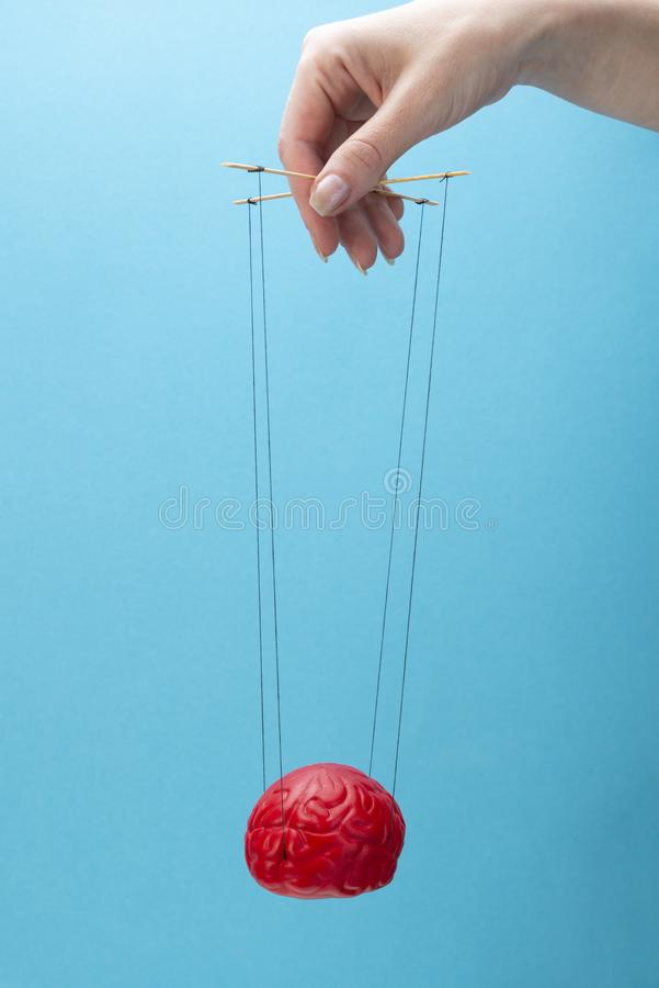 A red brain on a blue background, a hand that manipulates the mind like a puppet. Brain control concept royalty free stock photography