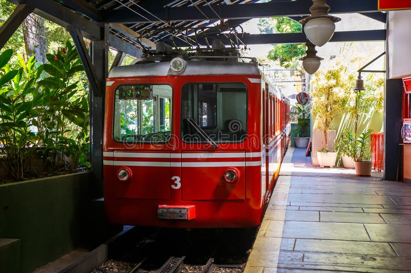 Red Brazilian Train Best Jungle, Tijuca Rio de Janeiro. Red Brazilian train travels through thick, best jungle at Tijuca National Forest in Rio de Janeiro Brazil stock photography