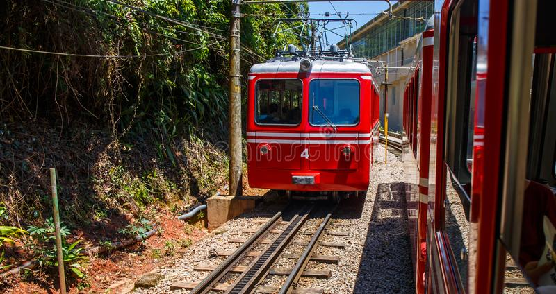Red Brazilian Train Best Jungle, Tijuca Rio de Janeiro. Red Brazilian train travels through thick, best jungle at Tijuca National Forest in Rio de Janeiro Brazil royalty free stock image