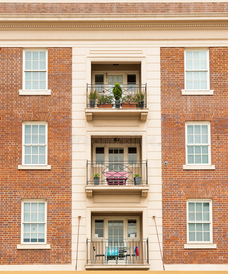 Download Red Brick Apartment Symmetry. Stock Photo   Image: 73821545