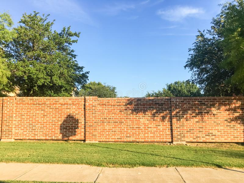 Brick screen walls and sound walls in Dallas-Fort Worth area, Te royalty free stock photo
