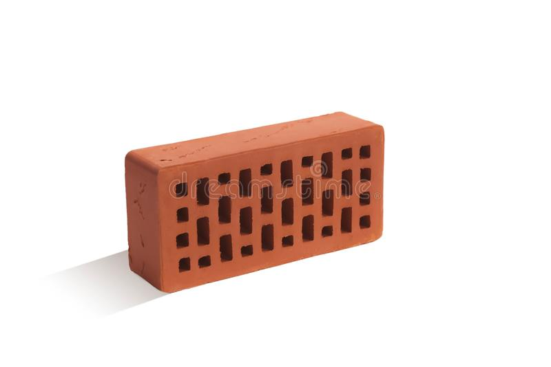 Red brick brick block on a white background. Ceramic block of a new development in the construction sector stock images