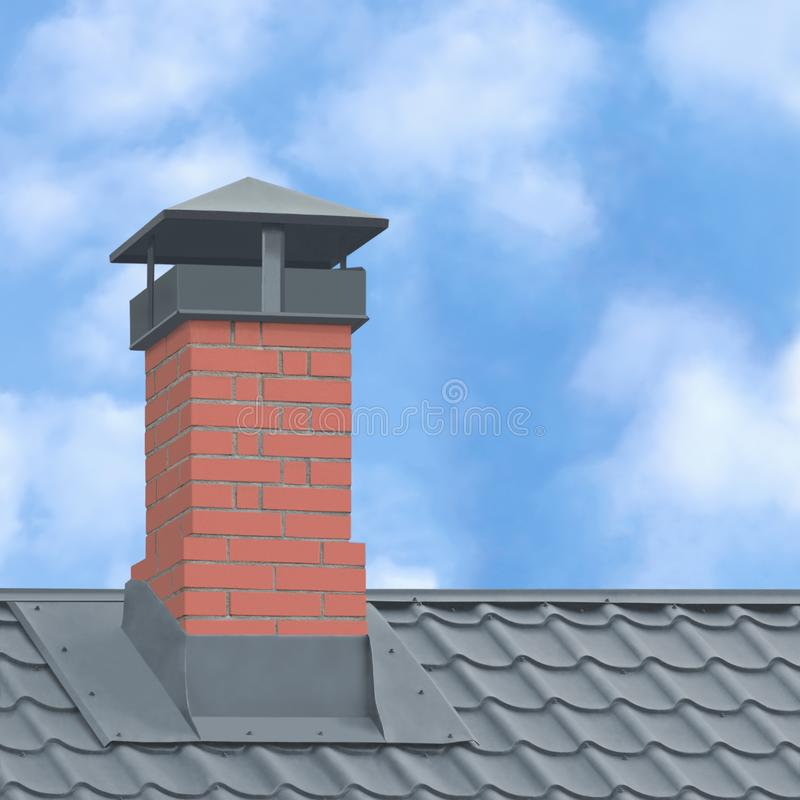 Free Red Brick Chimney, Grey Steel Tile Roof Texture, Gray Tiled Roofing, Large Detailed Vertical Closeup, Modern Residential House Royalty Free Stock Photo - 166773505