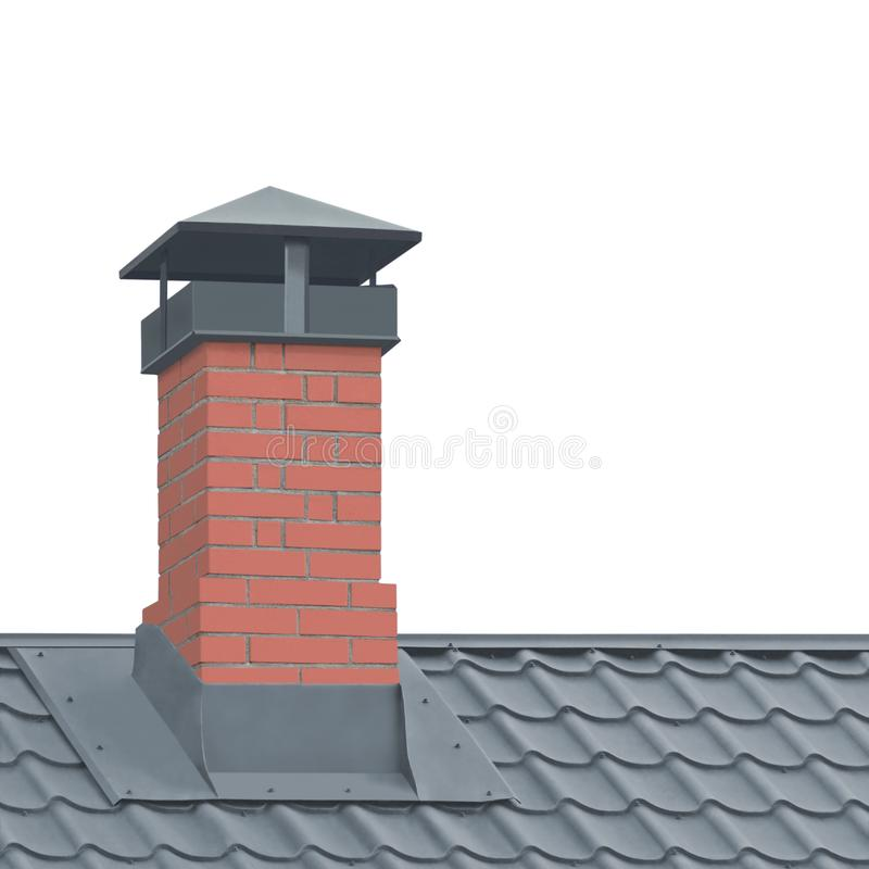 Red Brick Chimney, Grey Steel Tile Roof Texture, Isolerad Tiled Roofing, Stor Detailed Vertical Closeup, Modern Residential House fotografering för bildbyråer