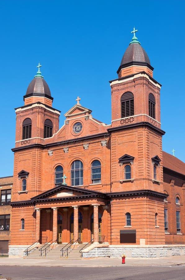 Red Brick Church Corner in Saint Paul stock photography