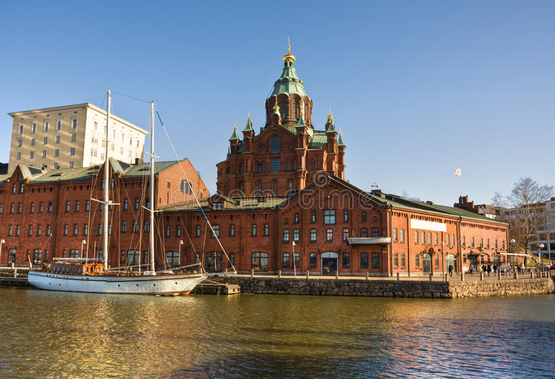 Red brick church in Helsinki royalty free stock photography
